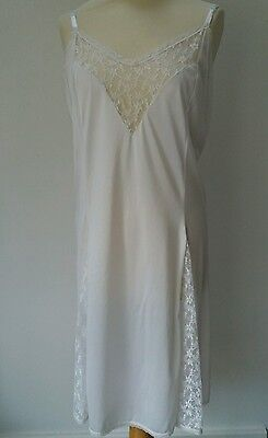 Vintage Evans Silky & Lace Panel Full Slip Petticoat Nightie Size 30/32
