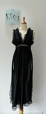 Vintage Long Black Lace and Glossy Nightdress Negligee Nylon Full Split Size 12