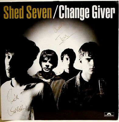 "Shed Seven - Change Giver 'original' Vinyl Lp 'signed' + Dolphin 12""single Ex/ex"