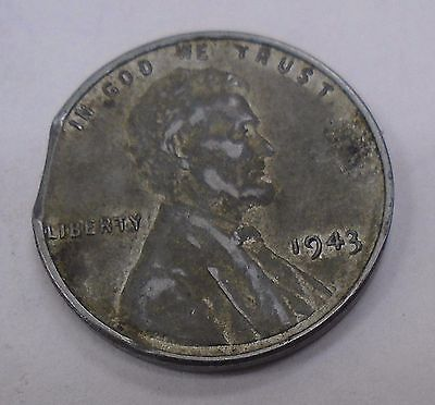 1943 LINCOLN STEEL WHEAT BACK CENT with CLIPPED PLANCHET ERROR NoR
