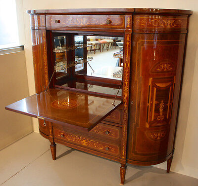 Gorgeous solid mahogany hand made inlaid bar cabinet with LED lighting