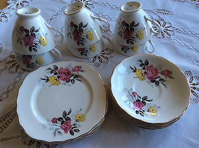Royal vale tea set 6x trios yellow/pink roses VGC