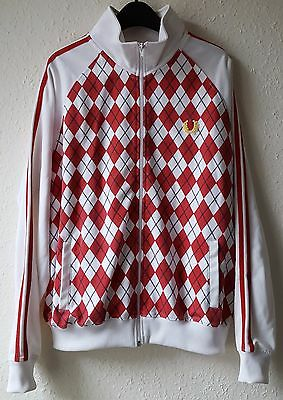 Fred Perry Men's Diamond Harlequin Tracksuit Top Red White Track Jacket Large