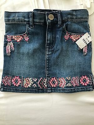 Gap Denim Skirt Pink Embroidery NWT 3