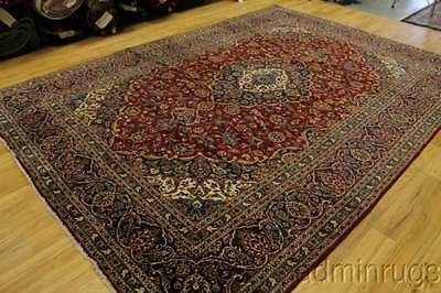 Excellent Antique Traditional Floral Kashan Persian Oriental Area Rug 9X12