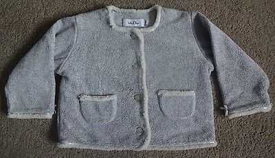 BABY DIOR Girls Fleece Cardigan - Grey / White - Long Sleeve - Lovely - Size 18M
