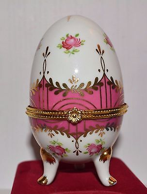 Vintage Limoges Egg_Porcelain_Three Footed_Hinged Egg_Trinket Box_Pink And Gold*