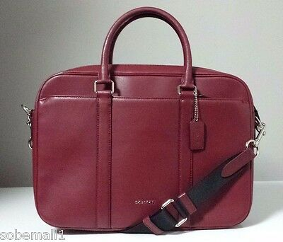 Coach Crossgrain Leather Slim Briefcase in Black Cherry F71681 Msrp $595.00
