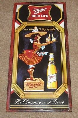 Rare Miller High Life Metal Embossed Beer Sign Vintage 2004 Retro Style Girl