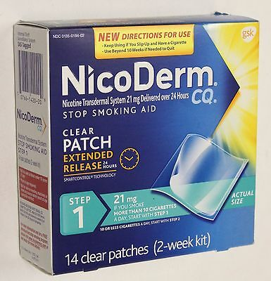NicoDerm CQ Step 1 Stop Smoking Aid Clear Patch 2 Week Kit 14ct exp 02/2018