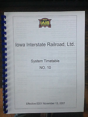 Iowa Interstate Employee Timetable #10 NOV 13 2007 System Special Instructions