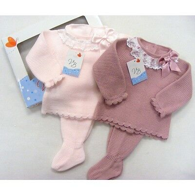 Baby Girls Spanish 2 Piece Boxed Set -  Pink / Cream Knit - Lace Trim