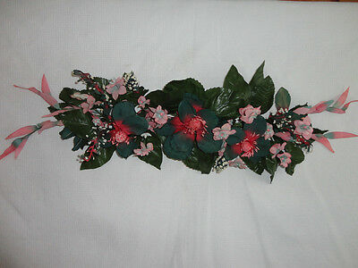 4 Your Home Interiors  37'' Teal Magnolia & Pink Flowers'' Swag/ Accents