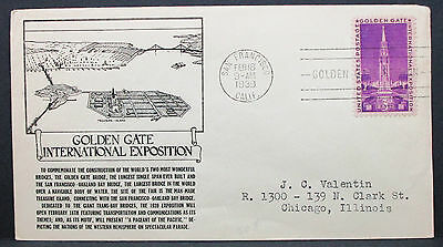 US Illustrated Cover San Francisco Golden Gate Exposition Stamp USA Brief H-7567