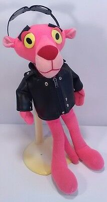 """12"""" Cool Cat Pink Panther plush in Leather jacket Stuffed Animal Vintage"""