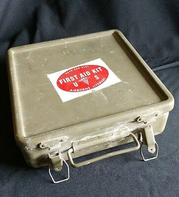 VINTAGE militray FIRST AID KIT metal box with contents camo bandages medical ...