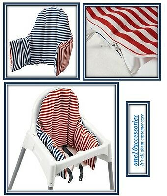 GENUINE IKEA PYTTIG Red & Blue  Supporting Cushion & Cover for High Chair