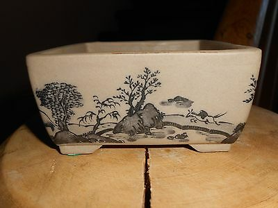 Small Square Vintage Hand Painted Bisque Japanese Bonsai Planter Made in Japan