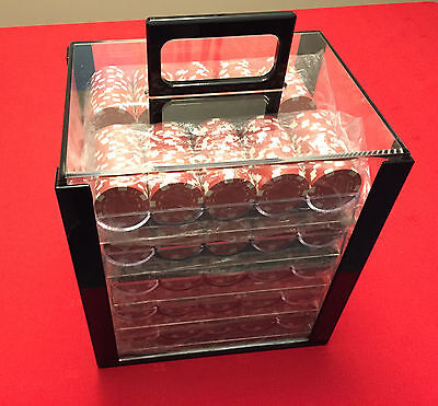 Brybelly Acrylic Poker Chip Carrier (1000-Count) with Chip Trays + Chips!