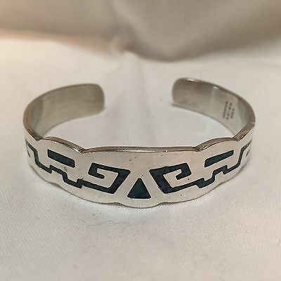 Vintage Mexico Sterling Silver Turquoise Inlay Cuff Bracelet -  1.1oz