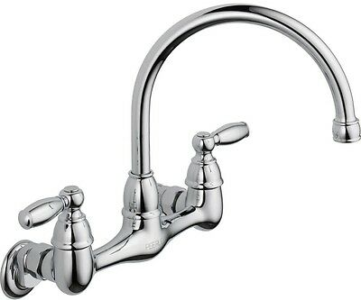 Peerless Choice Double Handle Wall Mount Kitchen Sink Spout Faucet in Chrome New