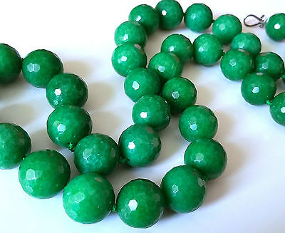 """Unique Vintage Long (34"""") Natural Green Faceted Green Onyx Necklace, Big Beads"""