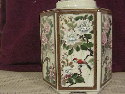 Andrea By Sedak Porcelain Tea Canister 6 Sided  Orierntal