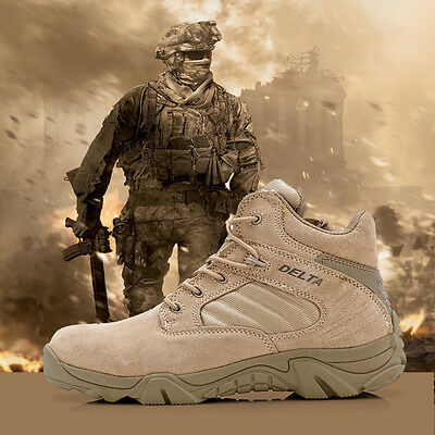 Men's Military Forces Combat Ankle Boots Tactical Outdoor Desert Hiking Shoes