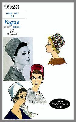 Vintage Vogue Designer Millinery Hat John Frederics Fabric sewing pattern # 9923