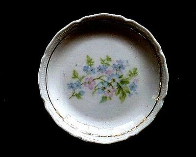Antique Victorian Porcelain Floral Transfer Design Butter Pat