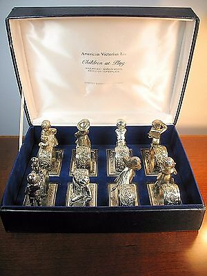 """8 Lance Antique Silver Plate """"Children At Play"""" Napkin Rings 1979 in Box"""