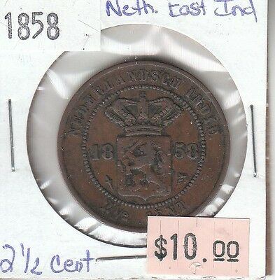 Netherlands East Indies 2 1/2 Cent 1858 Circulated