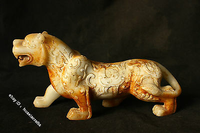 10'' Chinese Dynasty Old Antique White Jade carving Tiger Beast Animal Statue