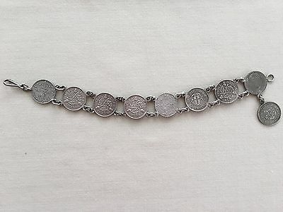 Vintage British SIlver Threepence Coin Bracelet England 1898 - 1941 UK 3 Pence
