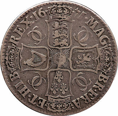 1671 Charles II Second bust V Teritio silver Crown coin