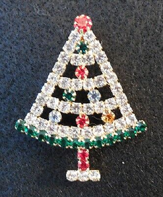 Christmas Tree Pin / Brooch - Rhinestone outlined w/green & colored accents