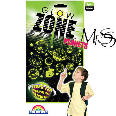 Glow Zone  120+ Glow In The Dark Planets And Stars Stickers  *  New