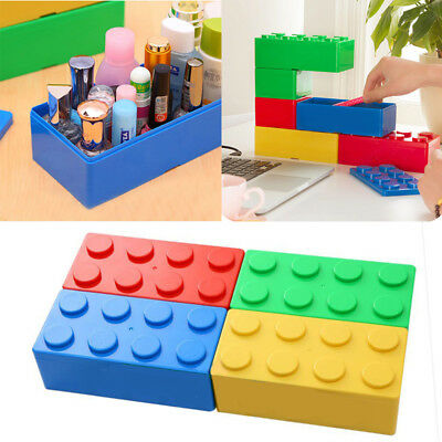 Cosmetic Organizer Makeup Case Plastic Table Jewelry Storage Box Brick Toys