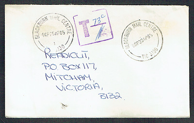"Australia Taxed ~ Purple Square, ""T"" & 73c ~ Vic Postmark ~ Commercial Cover"