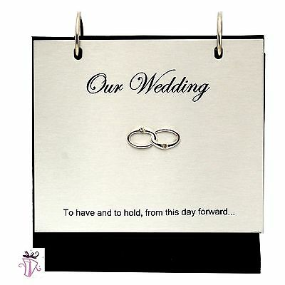 Wedding Silver Flip up, Slip in Photo Album on Stand Present Gift 4 x 6in Photo