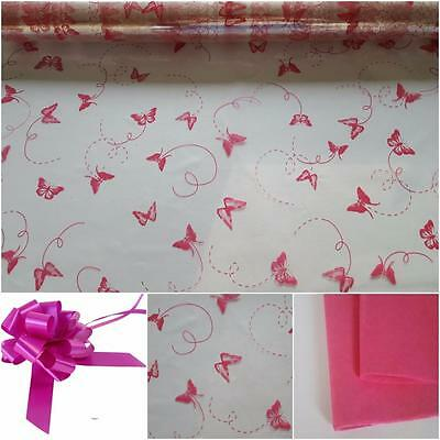 BUTTERFLY PRINT CELLOPHANE / GIFT SET IN HOT PINK 80 CM X 2M -Ideal hampers