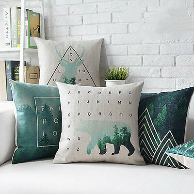 Nordic Animal Deer Tree Linen Cushion Cover Throw Pillow Cases Home Decor 18''
