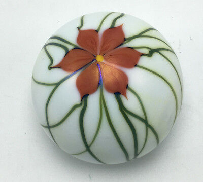 Smyers 1976 Northern Star Art Glass Paperweight  With Orange Flower on Top