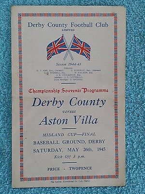 1945 - MIDLAND CUP FINAL PROGRAMME - DERBY COUNTY v ASTON VILLA - Good Condition