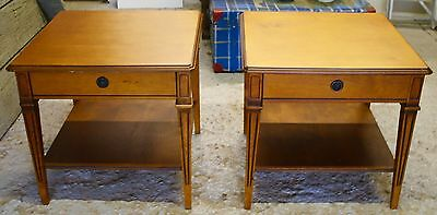Pair Yew Wood Side Tables/bedside Tables/coffee Tables/upcycle