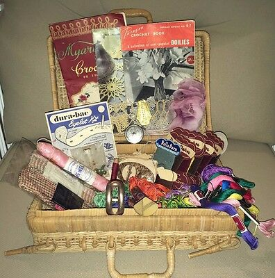 Vintage Haberdashery Lot - Basket / threads / buckles / Crochet Books / M-Tape