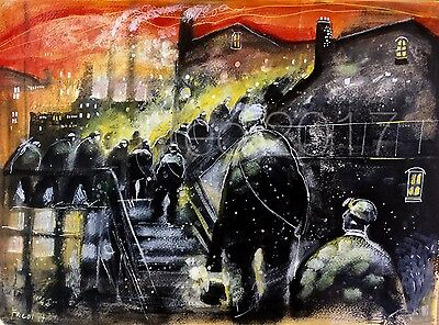 Large Original Mixed media oil painting by Fredi 'Miners at work'  northern art