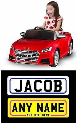 KIDS PLASTIC Number plate TOY CAR RIDE ON CAR ANY NAME OR COLOUR x1