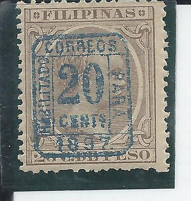 Philippines - 1897- 20 cent overprint on 20 peso Definitive - Light Mounted Mint