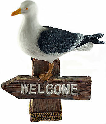 Nautical Seagull WELCOME 17cm Figurine Ornament - Home or Garden